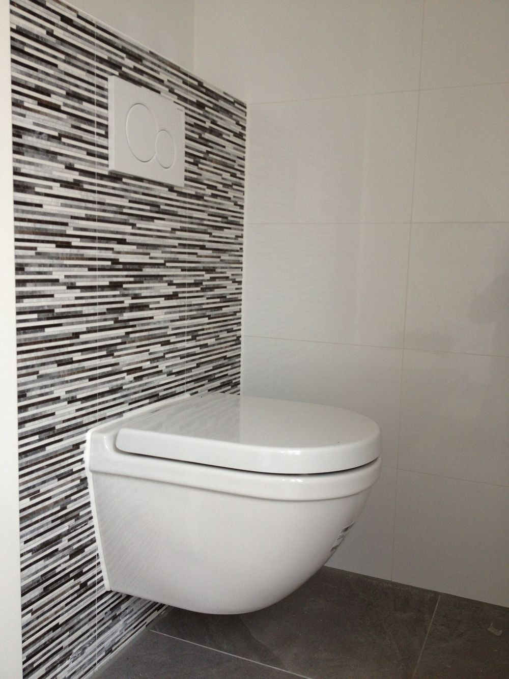 Toilet Betegeld Met 20 X 40 Met Strookjes Look En Wit 30 X 60