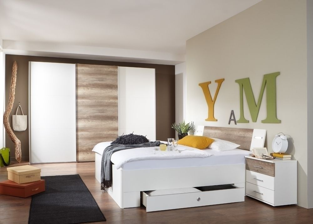 Schlafzimmer komplett Trento weiß wildeiche 7245 Buy now at   - Schlafzimmer Landhausstil Weiß