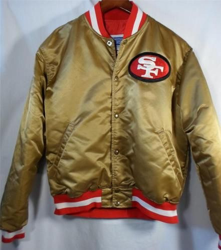 Vintage 1980 s SAN FRANCISCO 49ers Gold Satin JACKET Football by STARTER  Size L dfcd1811dcb9