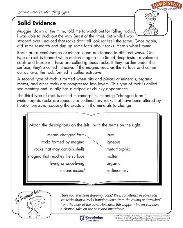 Solid Evidence - free activity page for identifying types of rock ...
