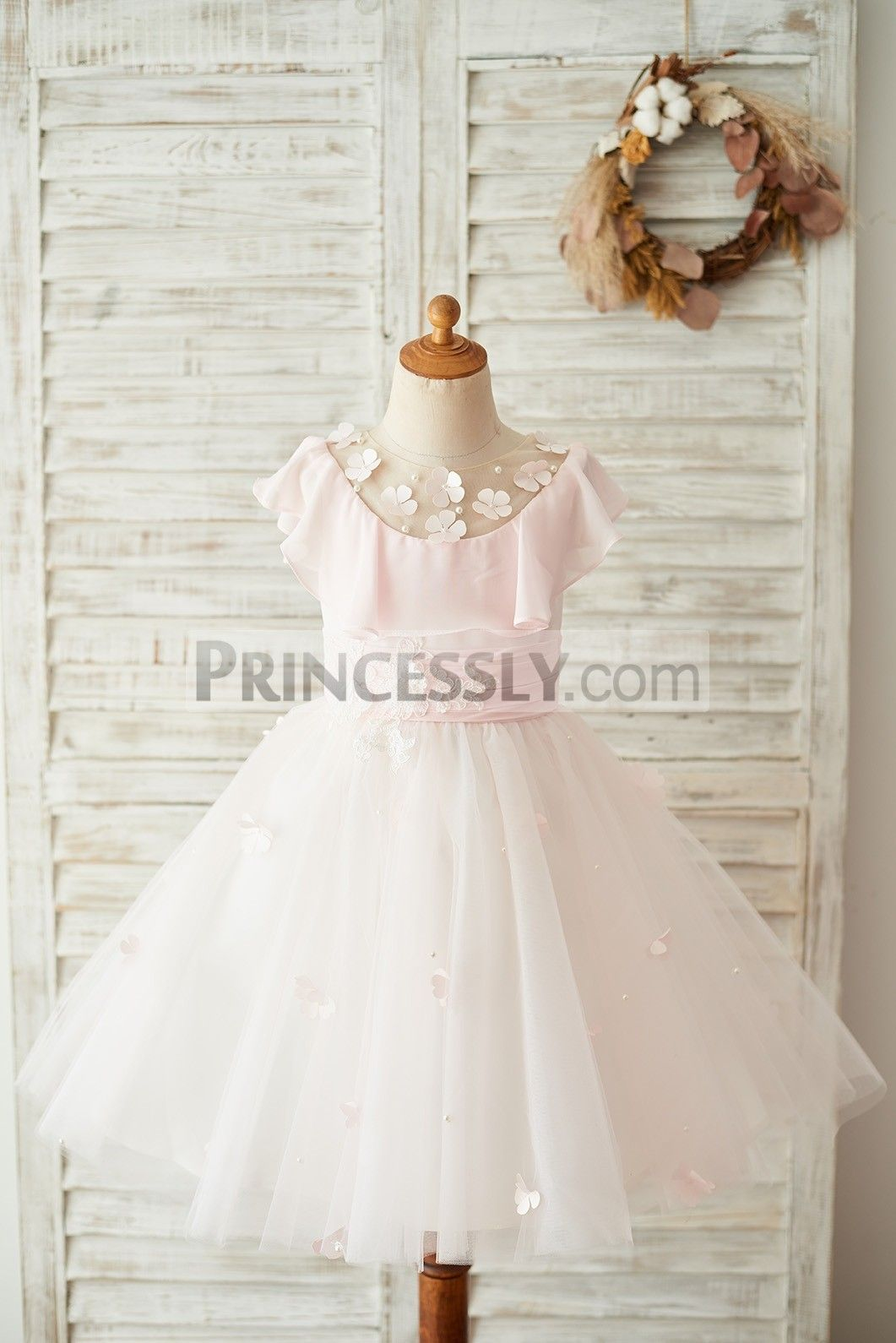 Pink chiffon tulle sheer neck wedding flower girl dress in