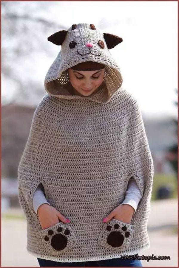 Crochet Tutorial: Kitty Cat Poncho https://www.freecrochettutorials ...