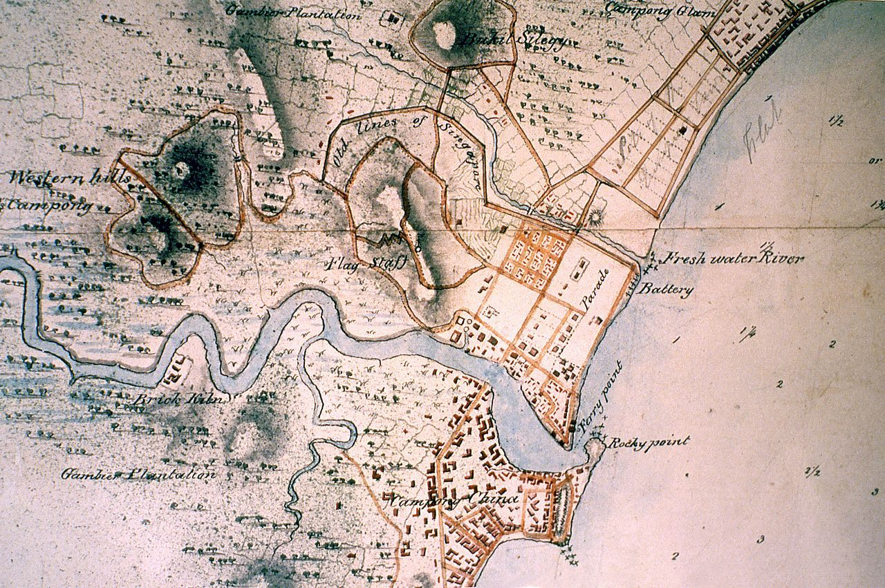 An old map of Singapore showing Singapore
