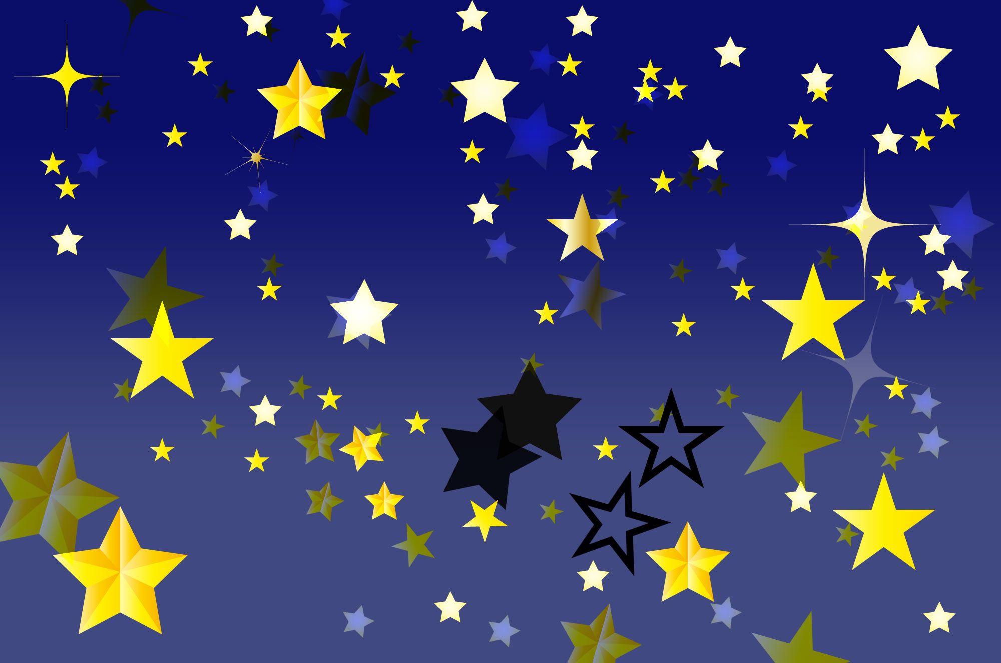 キラキラひかる可愛い星のイラスト素材暗いお空でゆらゆら瞬く星の無料