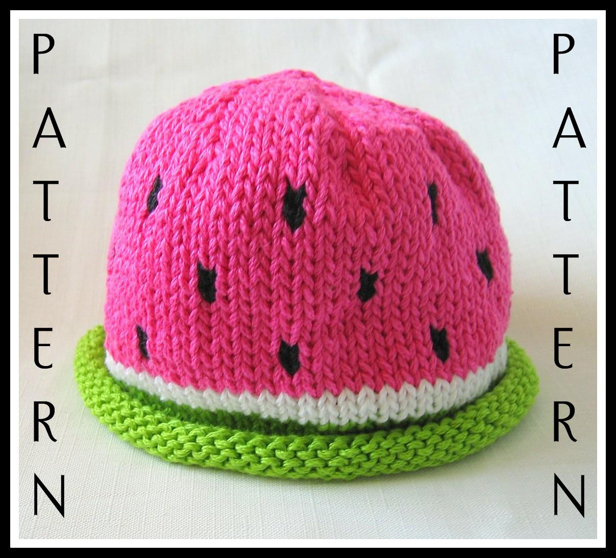 Watermelon Hat pattern, knit, Boston Beanies | Puppe und Stricken
