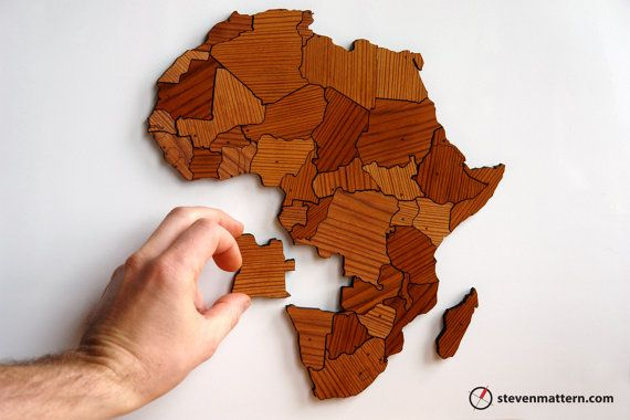 Africa Puzzle Made Out Of Reclaimed Wood This Might Take Me A While To Figure
