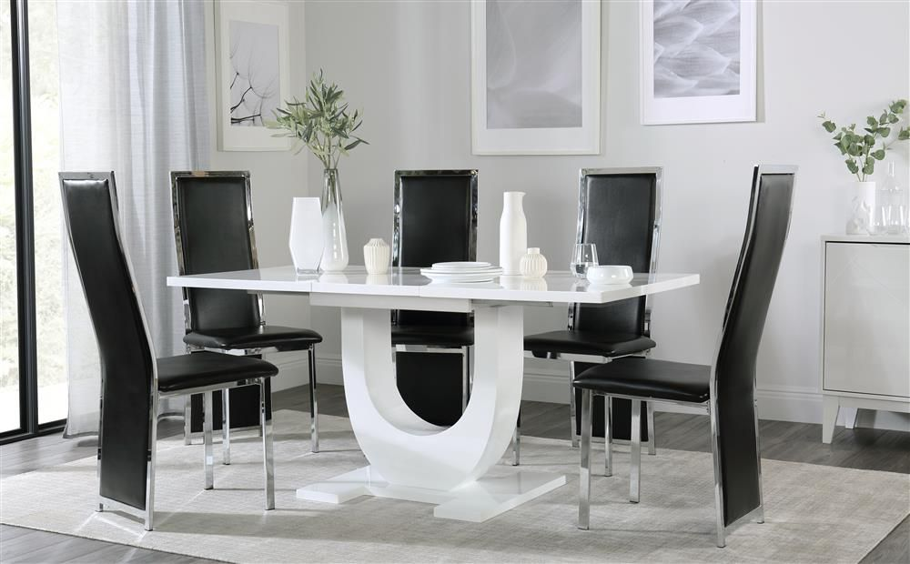 Oslo White High Gloss Extending Dining Table With 6 Celeste