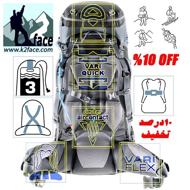K2face Deuter Aircontact 45 10 کوله ای تخصصی و فنی Golf Bags Flex Backpacking
