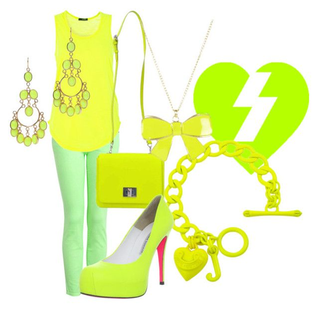"""Neon Day"" by eli2612 ❤ liked on Polyvore featuring Current/Elliott, Quiz, Juicy Couture, Emilio Pucci, Isharya, neon and hang out"