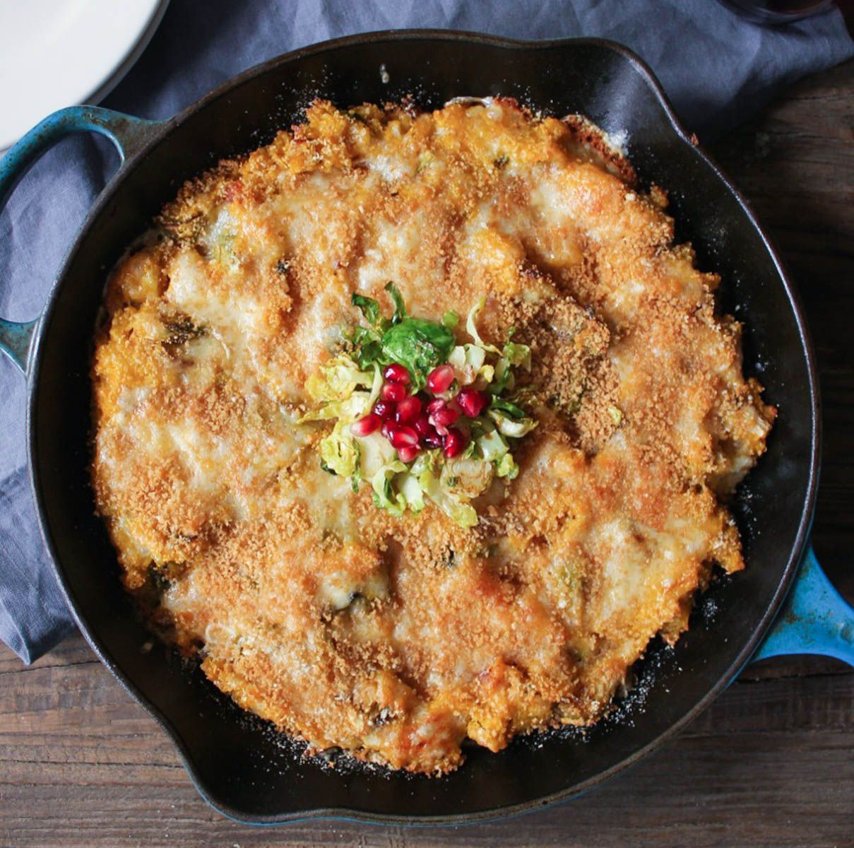Kabocha Squash Quinoa Bake with Brussels Sprouts and Pancetta