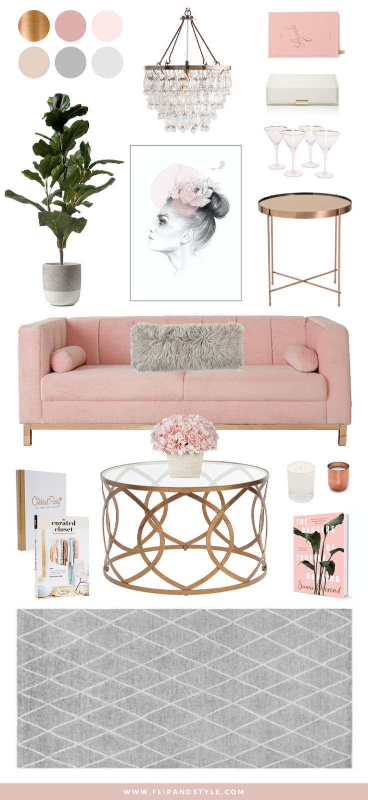 Blush copper grey home decor interior inspiration for Living room ideas rose gold