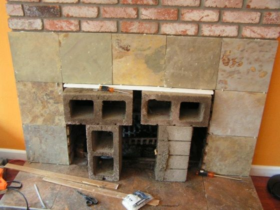 Placing slate tiles over the old brick with mortar and - Tile over brick fireplace ...