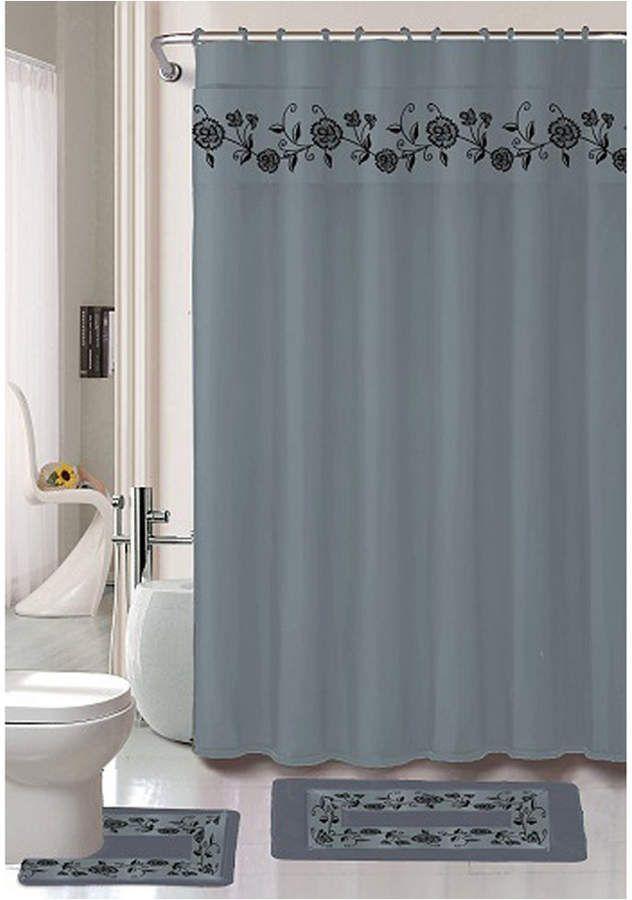 Popular Bath Vera 18 Pc Shower Set Bedding Products Shower Curtain Hooks Shower Curtain Sets Curtains