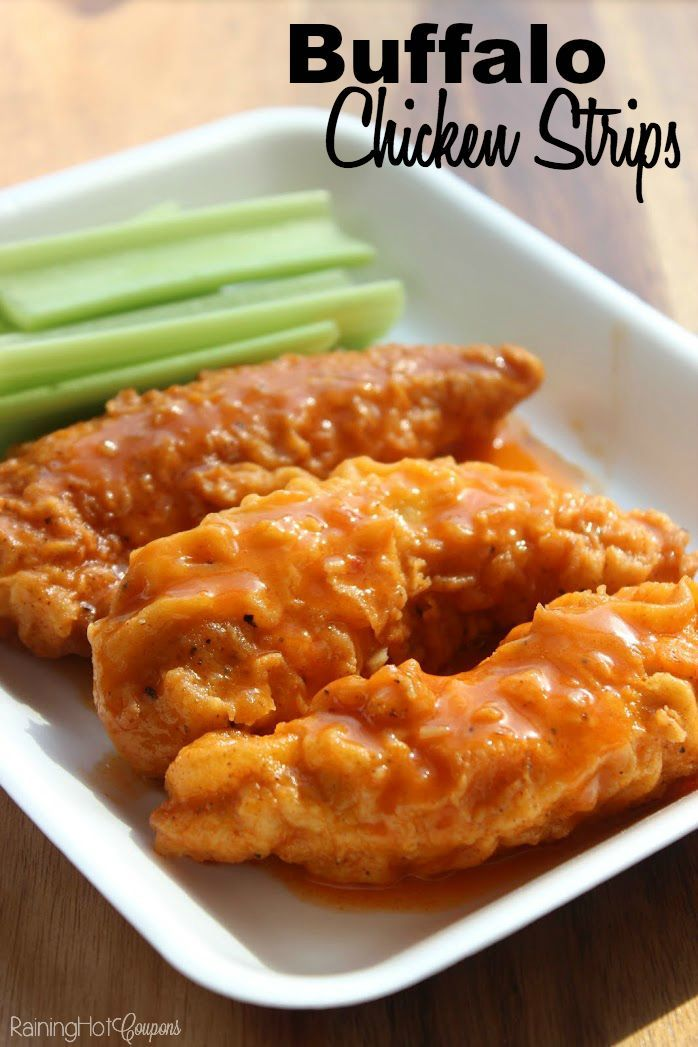 Buffalo Chicken Strips -  They are spicy but you can definitely adjust the heat by how much hot sauce and chili powder you put in. I definitely recommend trying what I have below first because it's the perfect mix of a little heat but not too spicy. These make great appetizers, dinner, leftover lunch, etc. Enjoy!