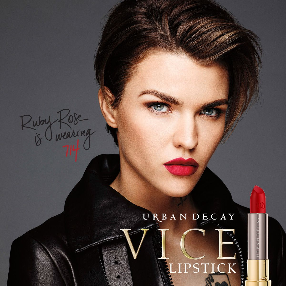 Ruby Rose wears Urban Decay's Vice lipstick in color 714