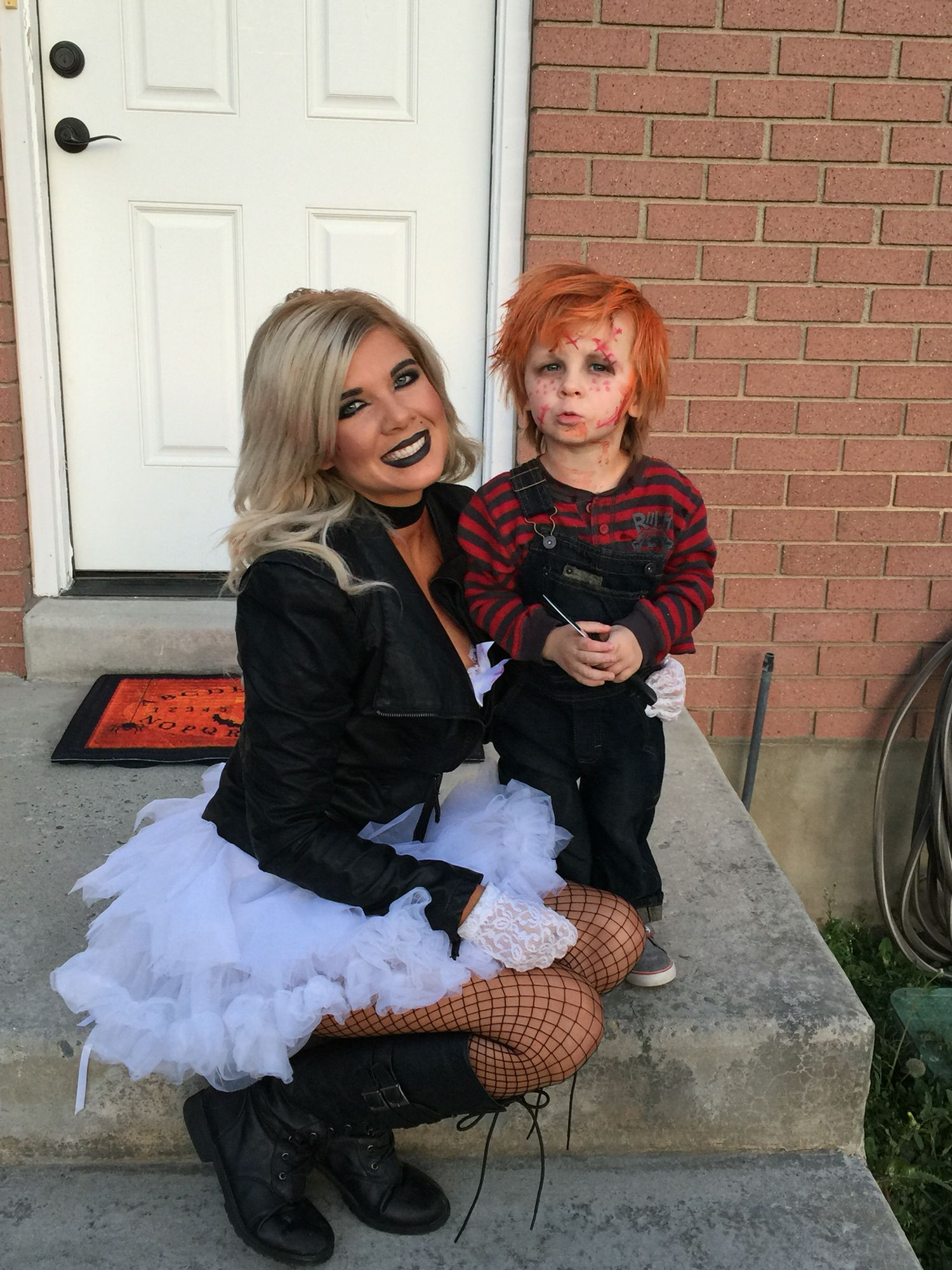 mom and son costume. cason as chucky. melissa as the bride of chucky