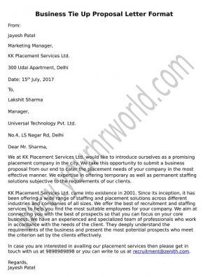 Use Formally Drafted Business Tie Up Proposal Letter Sample To