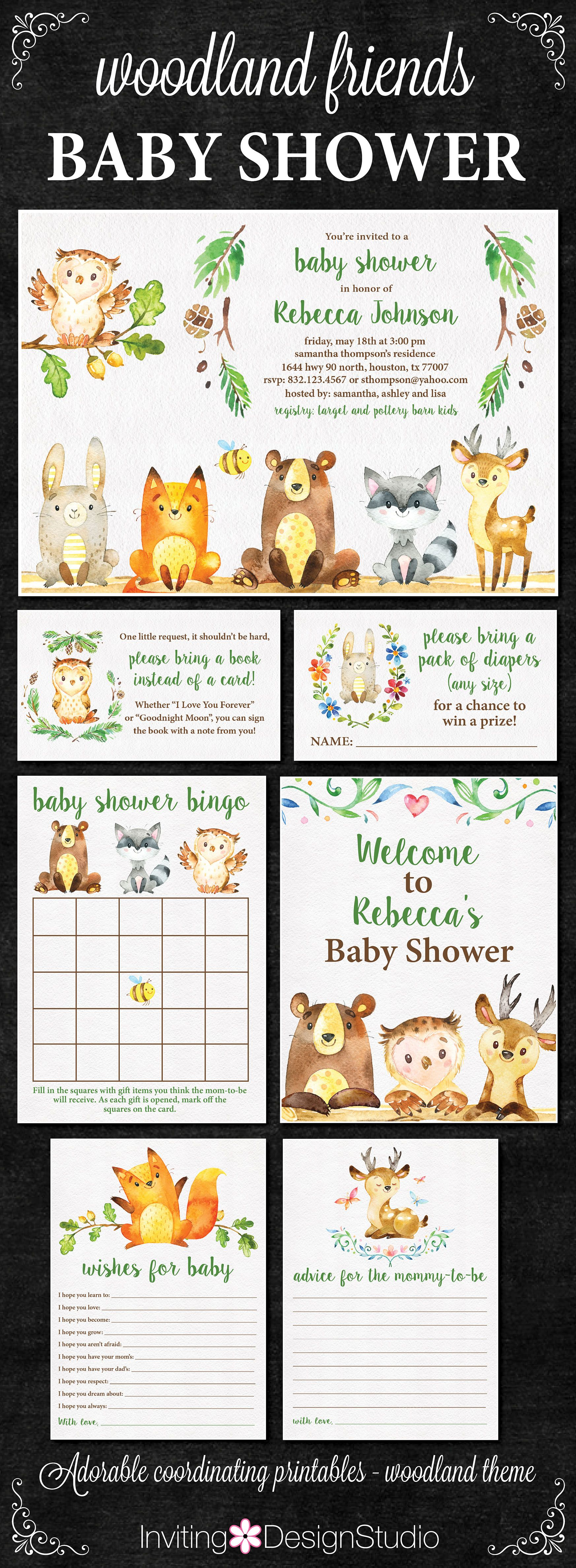 Woodland Baby Shower Invitation Package Woodland Theme Invitations Bingo Welcome Sign