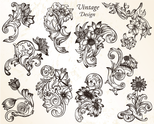 Vintage Flower Ornaments Vector And Photoshop Brushes Download Vintage Flowers Flower Ornaments Ornament Drawing