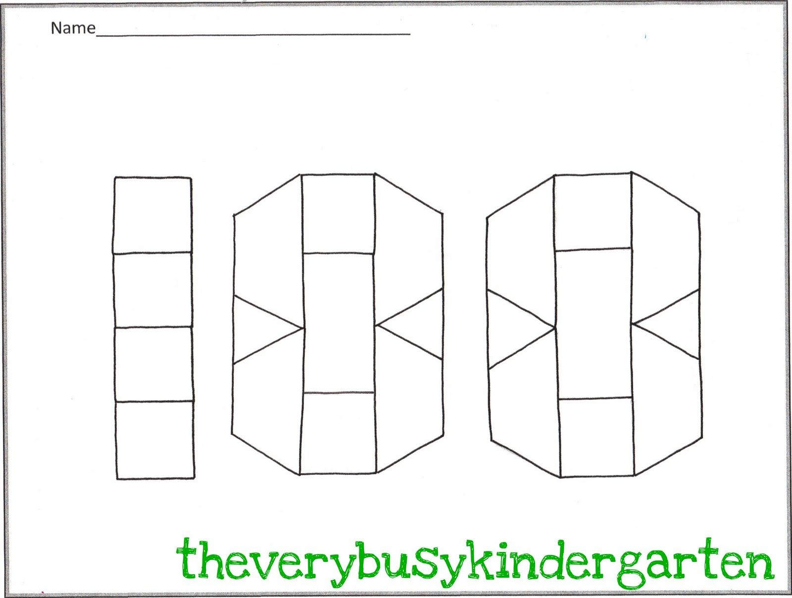 100 Day The Very Busy Kindergarten February Math