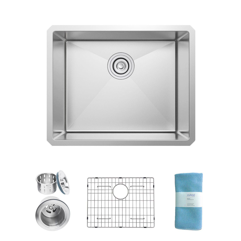 zuhne 21 inch undermount single bowl 16 gauge stainless steel kitchen sink for 24 inch cabinet zuhne 21 inch undermount single bowl 16 gauge stainless steel      rh   pinterest com