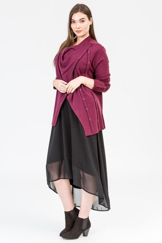Merlot style. Wine colour fashion. Cardigan. Merino. Plum colour. Knitwear. Black dress. Black boots, K+K women's plus size fashion sizes 10-26.