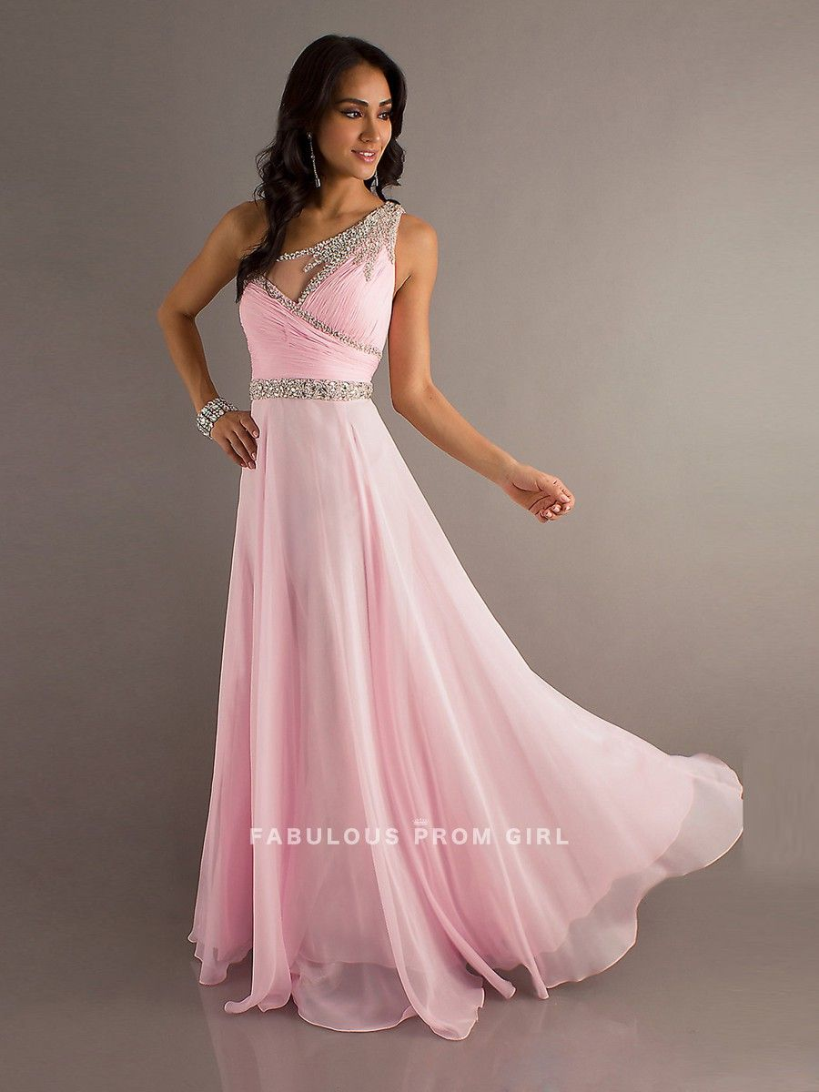 A-line One Shoulder Beading Sleeveless Floor-length Chiffon Prom ...