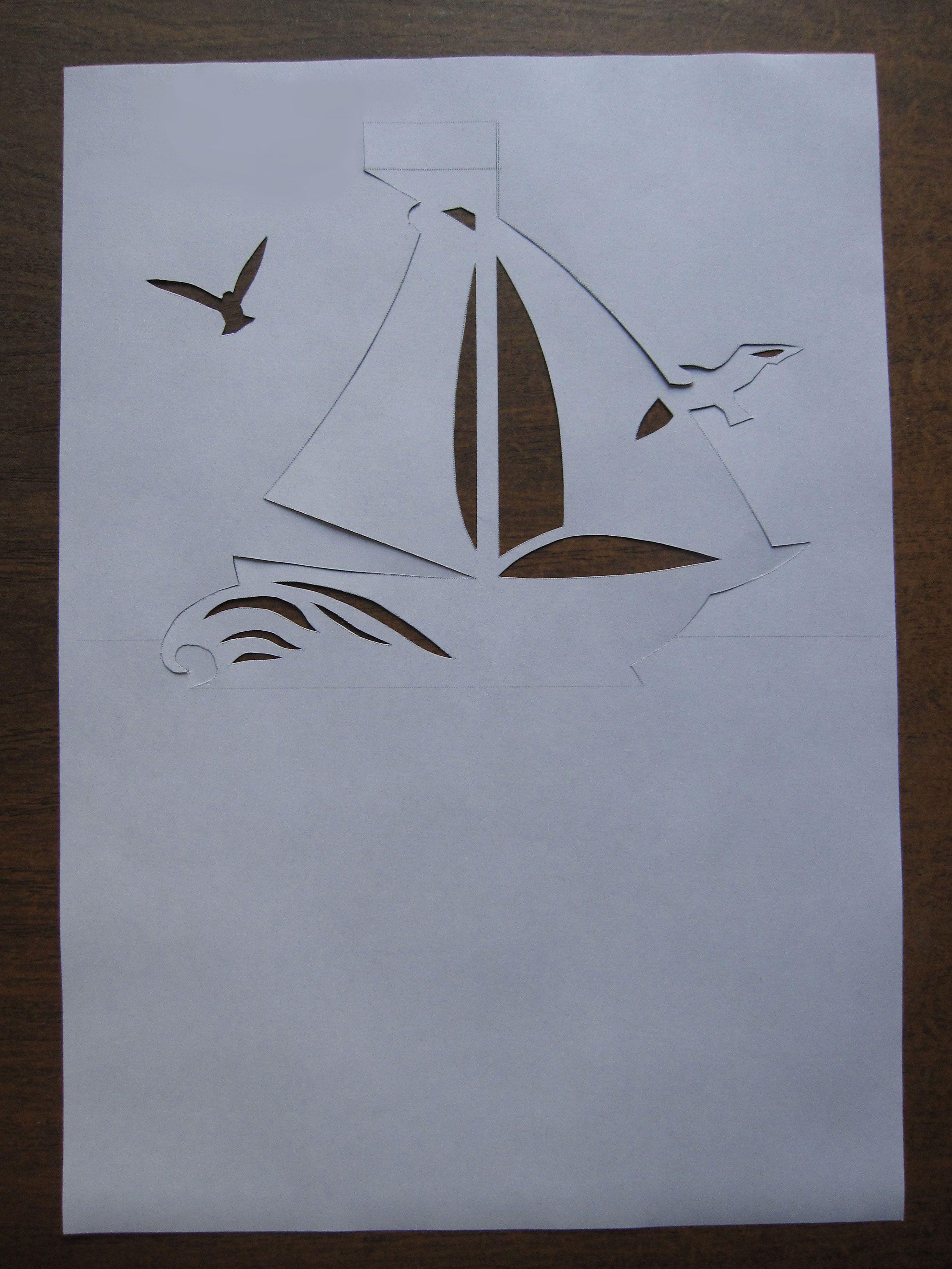 Приколами доброе, открытка из бумаги корабль