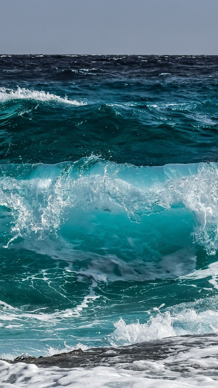 Blue Sea Wave Shore Water 720x1280 Wallpaper Ocean