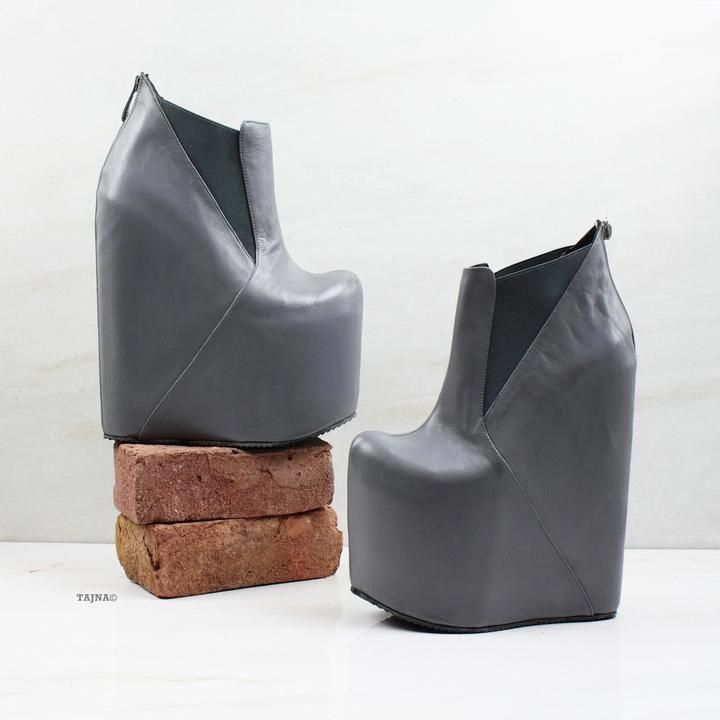 3398b5bfffd5 Gray Platform High Heel Wedge Booties - Tajna Club  highheelshoes ...