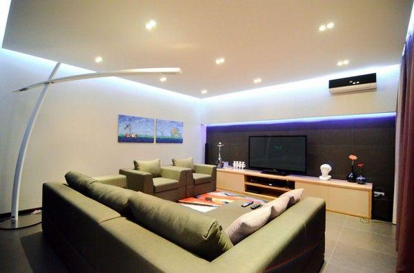 moderner wohnung wohnzimmer mit schöne deckenbeleuchtung | makeup ... - Schone Moderne Wohnzimmer