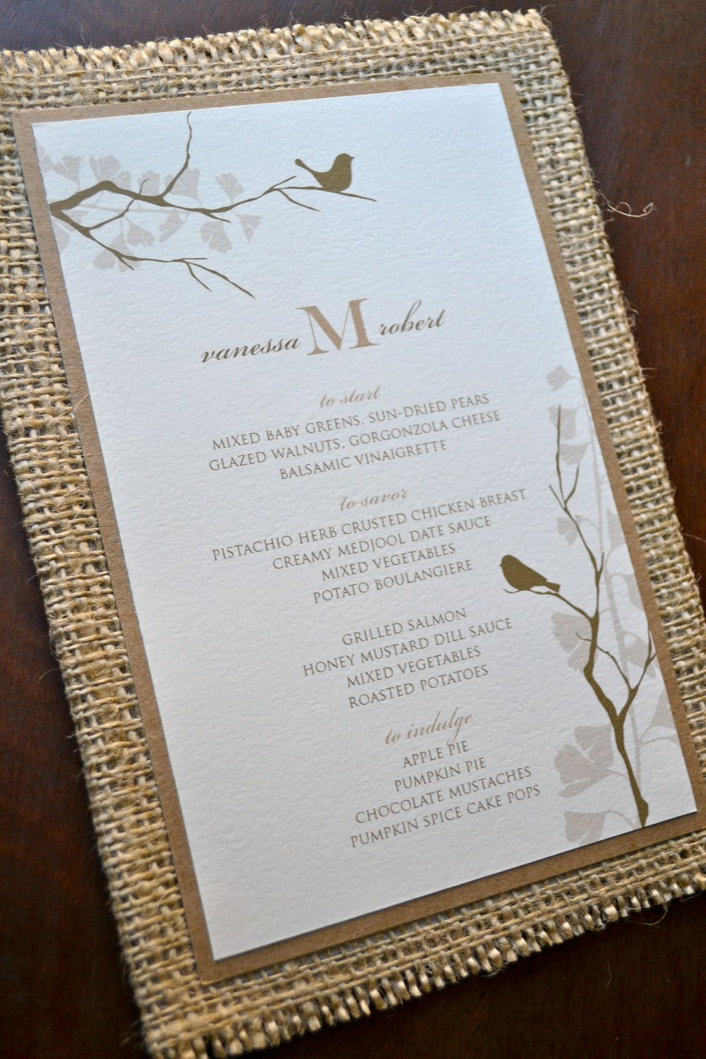 ETSY Rustic wedding menu with burlap and recycled paper | Bee Shower ...
