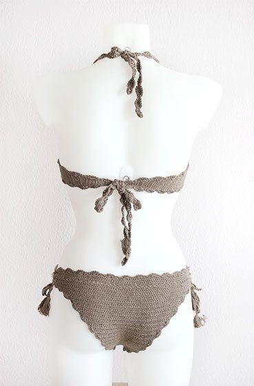 Ganchillo bikini conjunto con borlas tapa de bikiní del