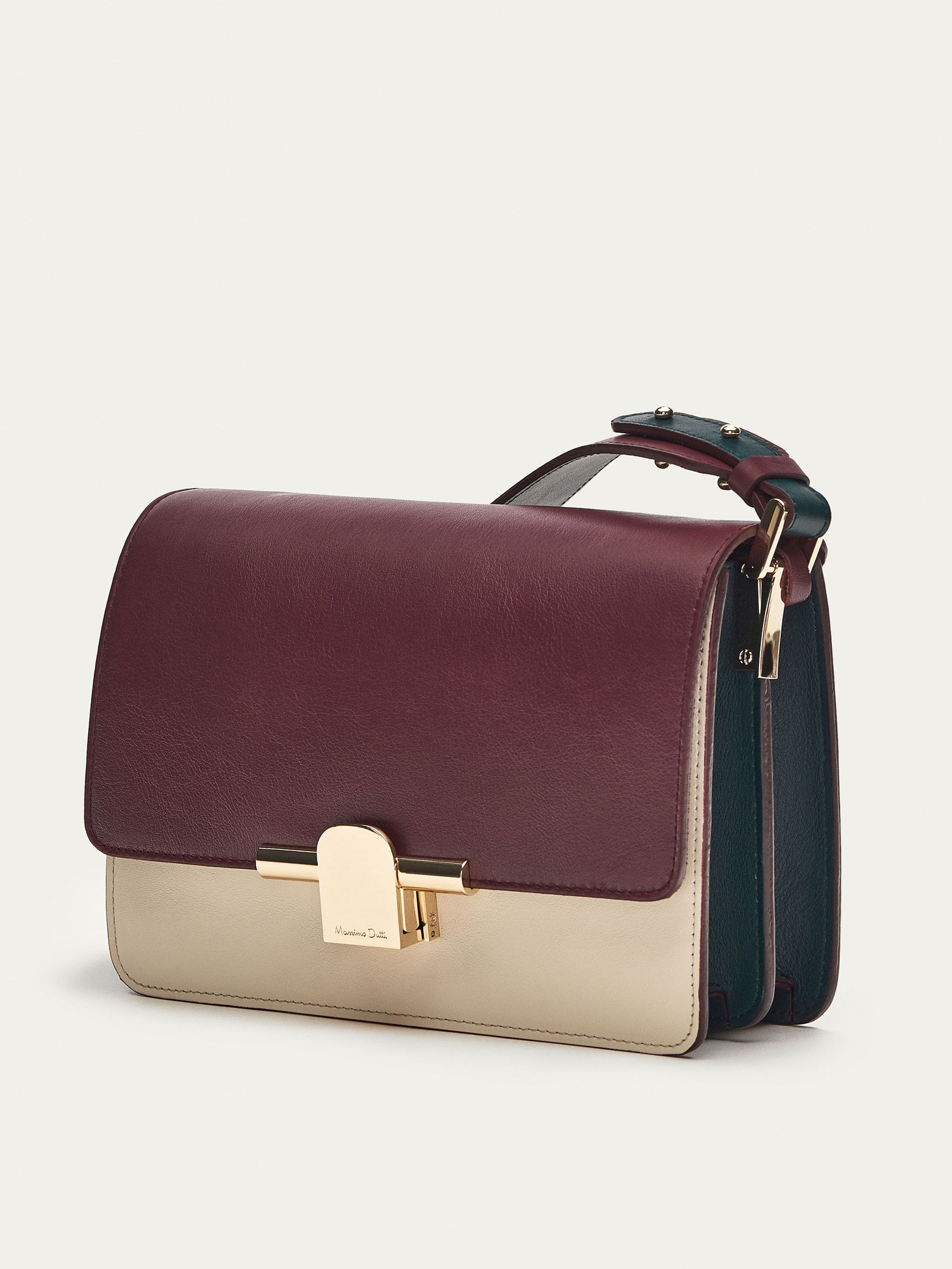 8d27b93a0b LEATHER TRICOLOURED CROSSBODY BAG WITH METAL DETAIL - Women - Massimo Dutti