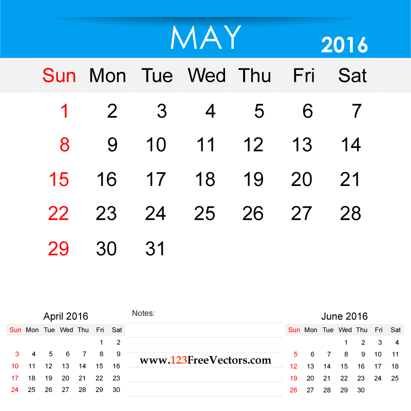 Free Download May 2016 Calendar Printable Template Vector ...