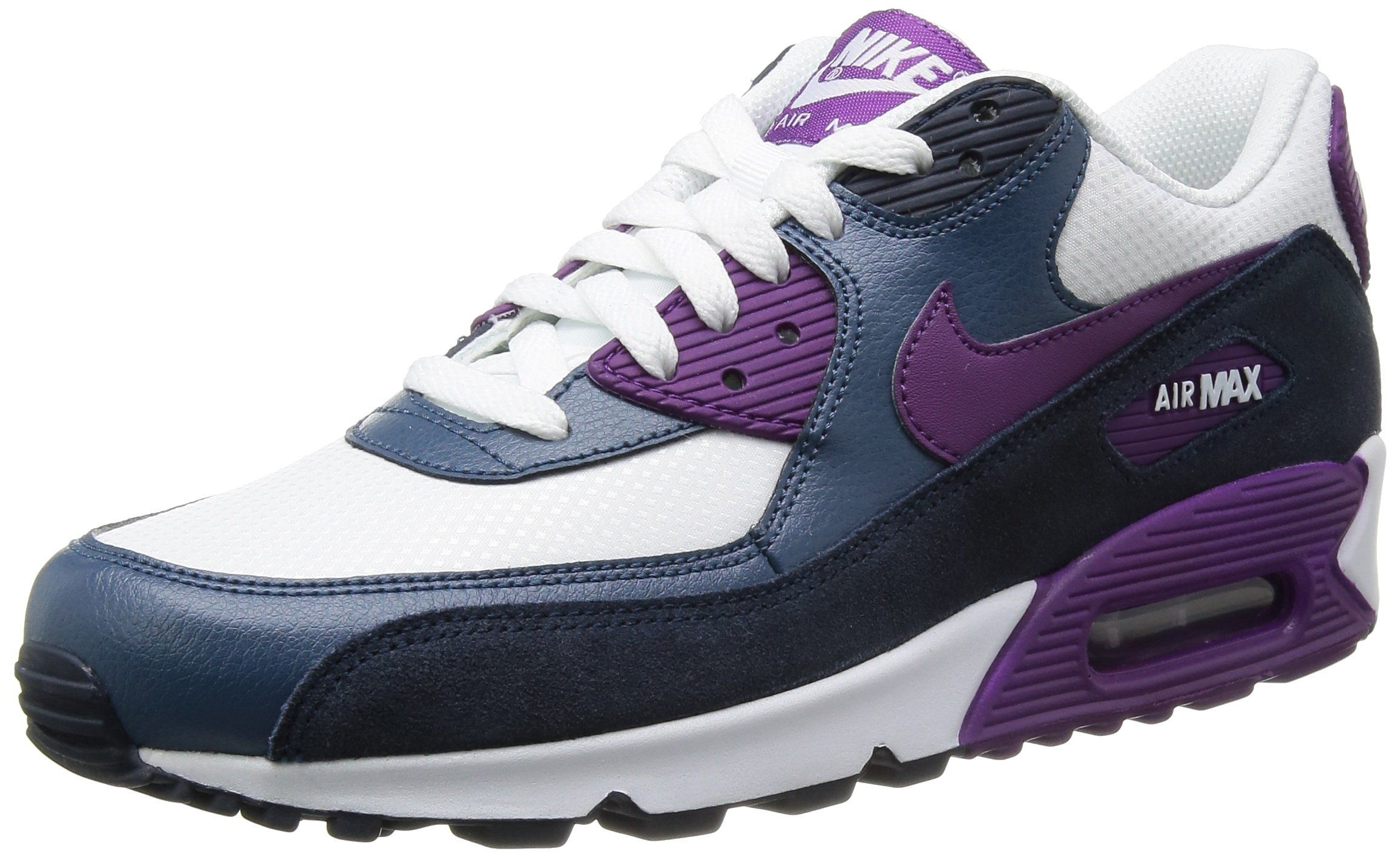 wholesale dealer 32eb1 3a42c Nike Women s Air Max 90 Essential - White   Bright Grape-Obsidian-New Slate,  7 B US