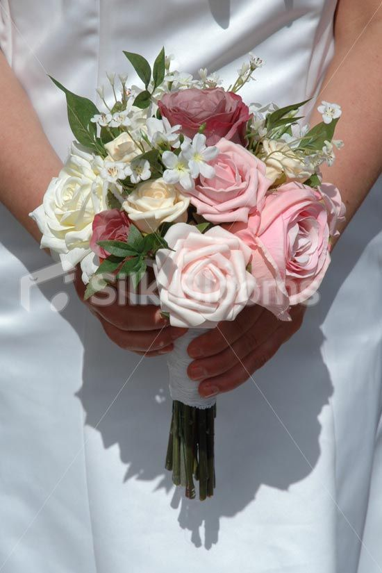 Stunning Mixed Rose Bridesmaid Bouquet In Pink And Ivory Michaela Artificial Flowers Wedding Bridesmaid Flowers Bridesmaid Bouquet
