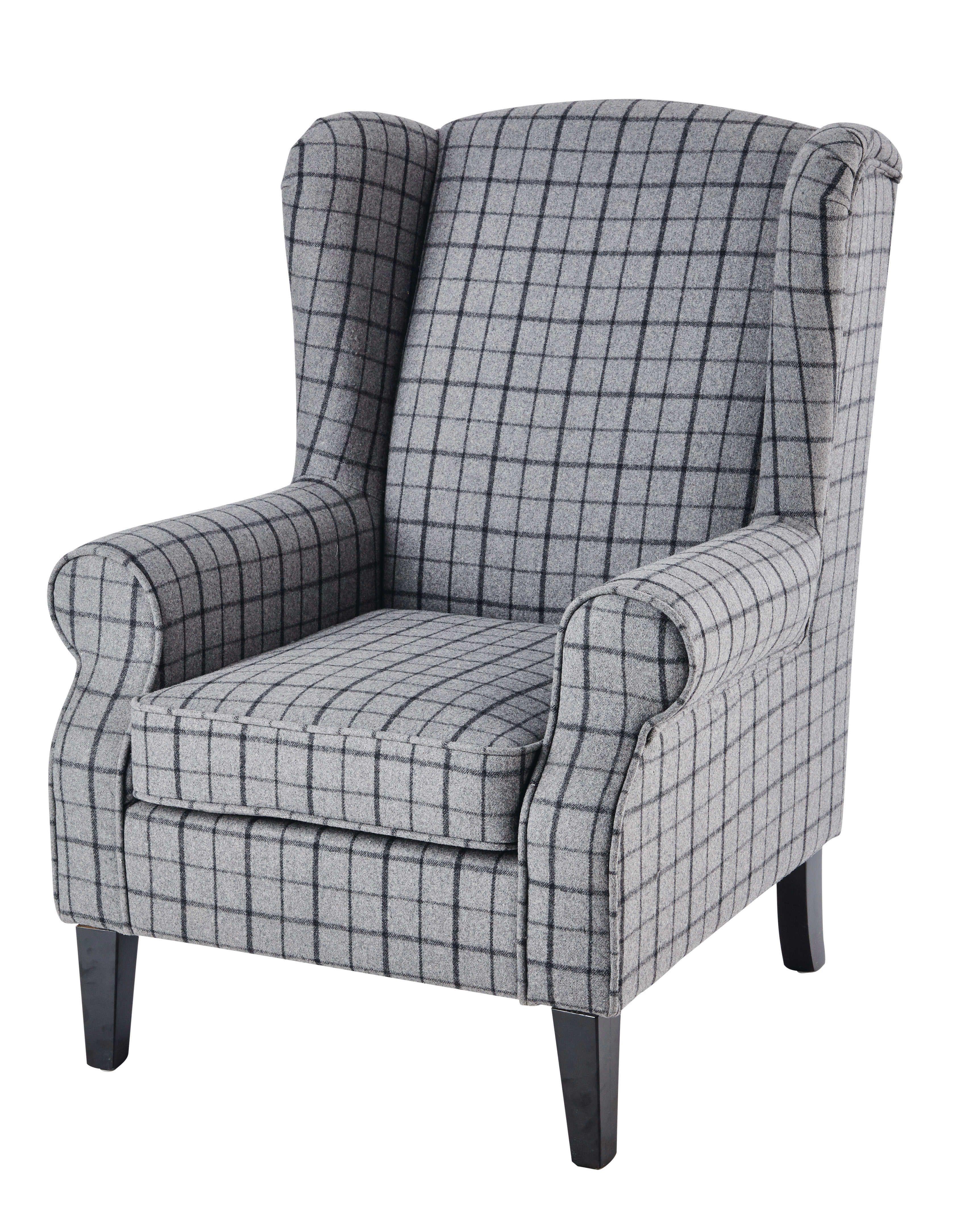 fauteuil en laine carreaux gris fauteuils laine et gris. Black Bedroom Furniture Sets. Home Design Ideas