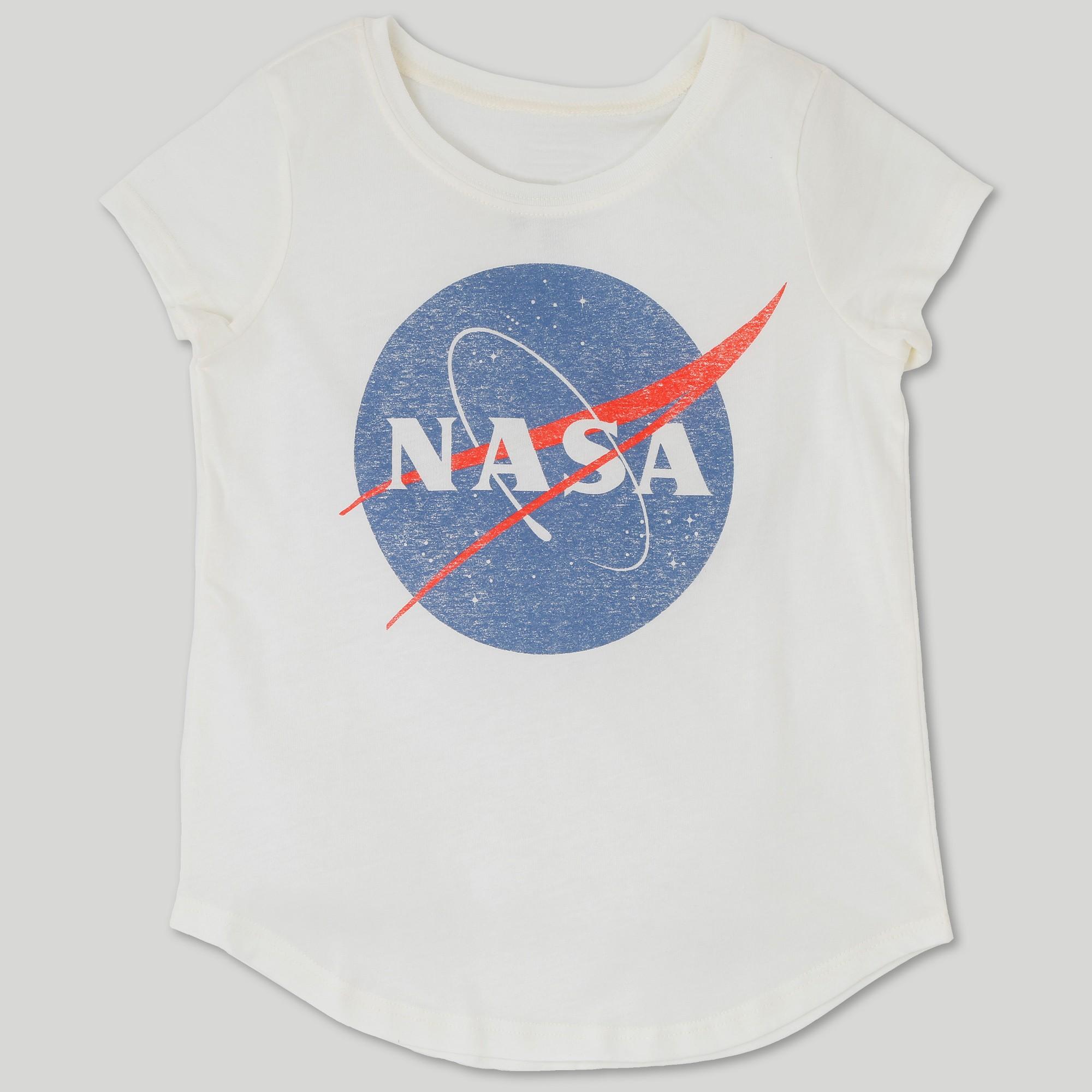 6ec91633b Plus Size L.O.L. Vintage Girls' Nasa Logo Cap Sleeve Graphic T-Shirt -  Ivory Xxl Plus, White
