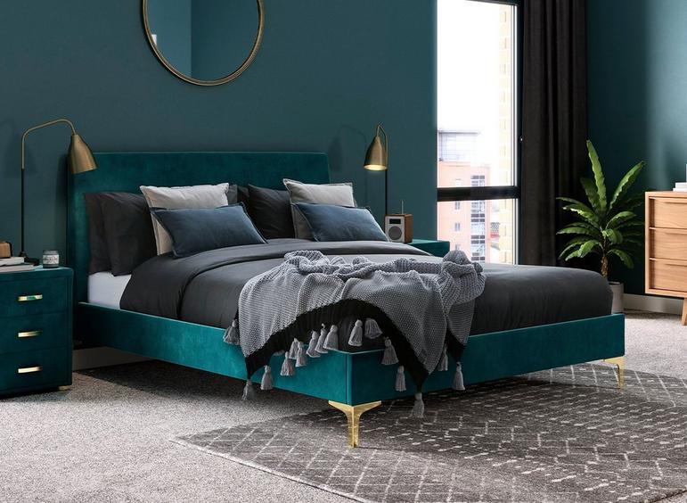 Prestwood Velvet Finish Upholstered Bed Frame Upholstered Beds