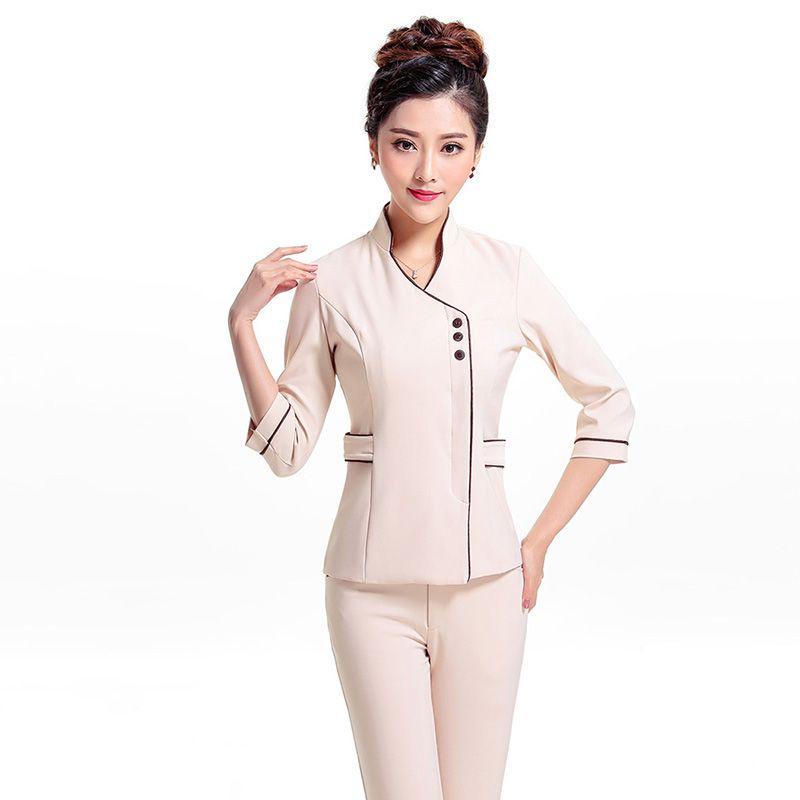 be62fea045 Barato Frete grátis verão manga curta uniformes salão de beleza SPA do  Hotel uniformes hospitalares mulheres…