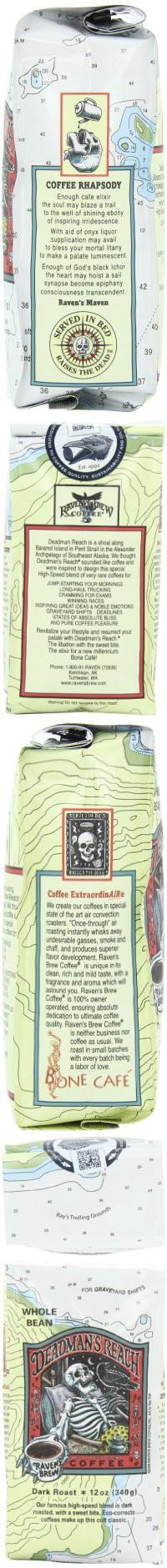Raven's Brew Whole Bean Deadman's Reach,Dark Roast 12-Ounce Bags (Pack of 2)