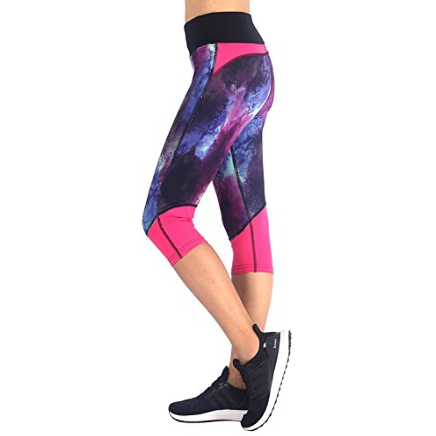 1287332b9e703 Neonysweets Womens Printed Capri Yoga Pants Active Workout Tights Stretchy  >>> You can get more details by clicking on the image. (This is an  affiliate link ...