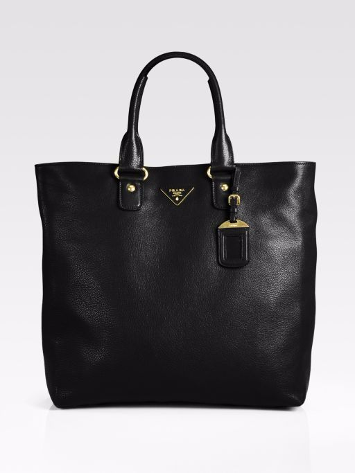 1f7d941b0be5 PRADA VITELLO DAINO BLACK PEBBLED LEATHER TOTE BAG - BR4749 $745.0 ...