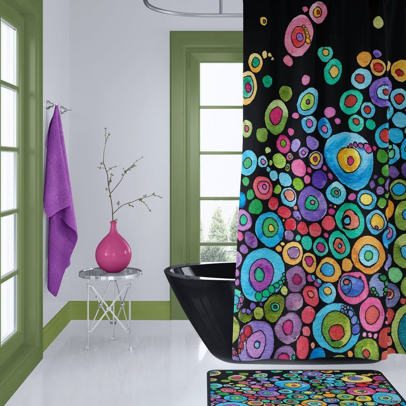 Colorful Shower Curtain Set Inner Circle Bubbles On Black