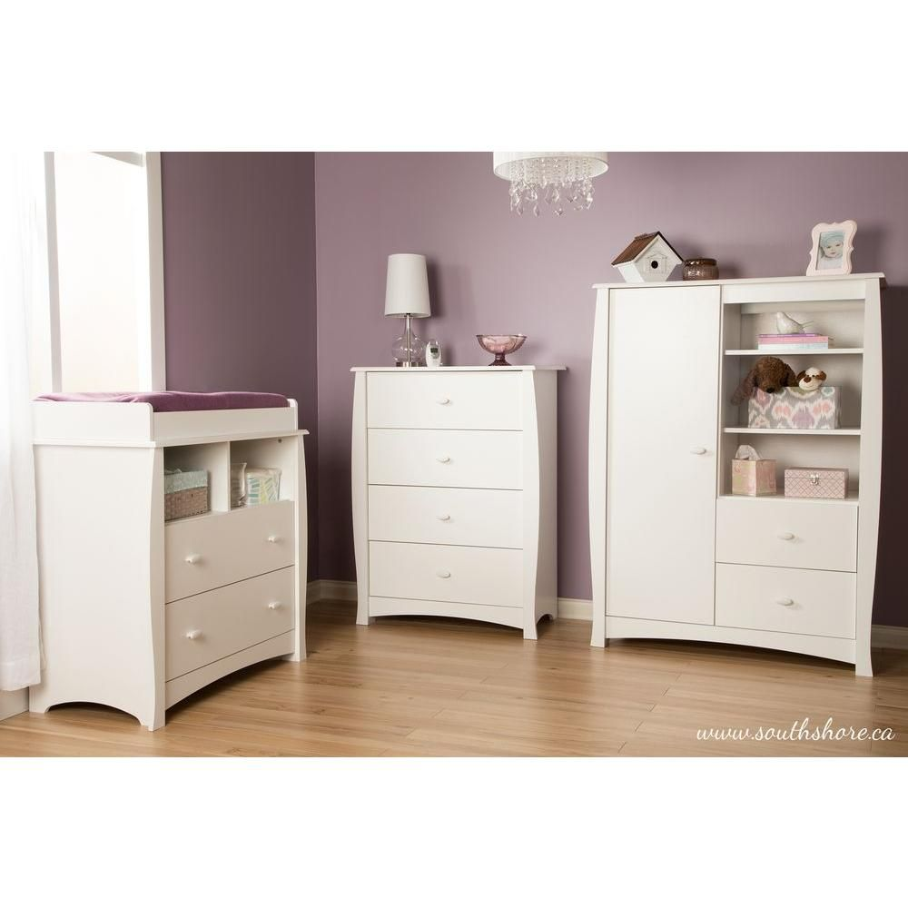 South Shore Heavenly Armoire with Drawers Pure White