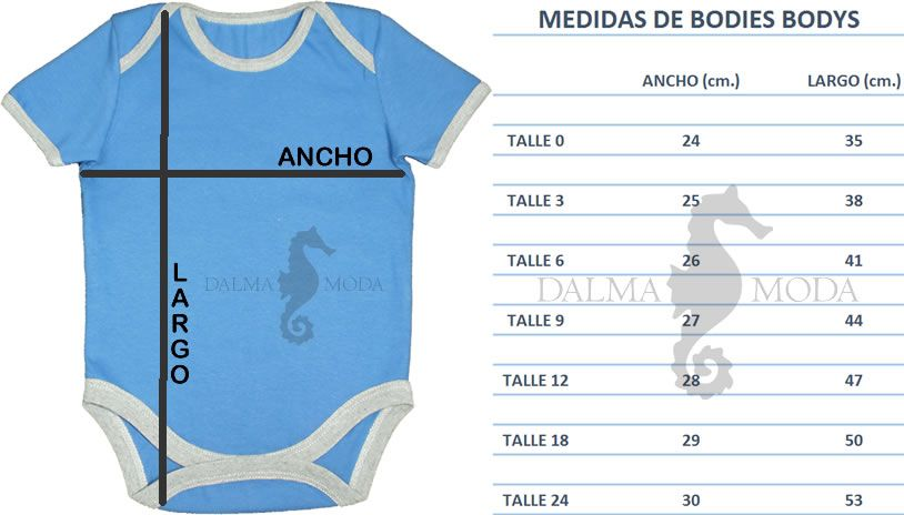 Tabla de medidas bodys bodies ancho largo bebe | bebes | Pinterest ...