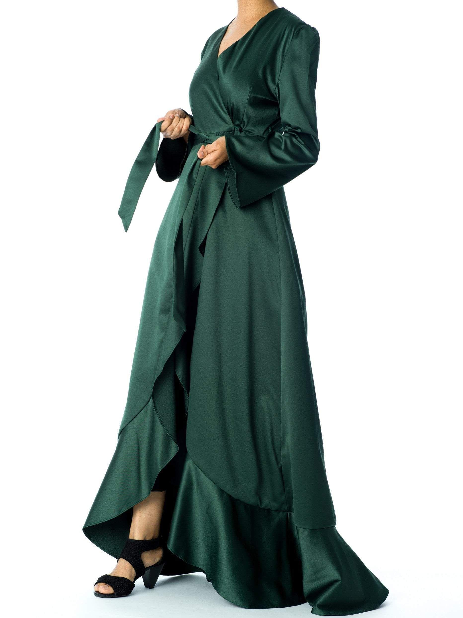 Emerald Green Satin Wrap Kimono Dress Long Sleeve Dress Outfit Kimono Dress Dresses With Leggings [ 2487 x 1864 Pixel ]