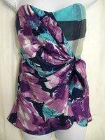 Nanette Lepore 4 Multi-Color Wrap Strapless Casual Top