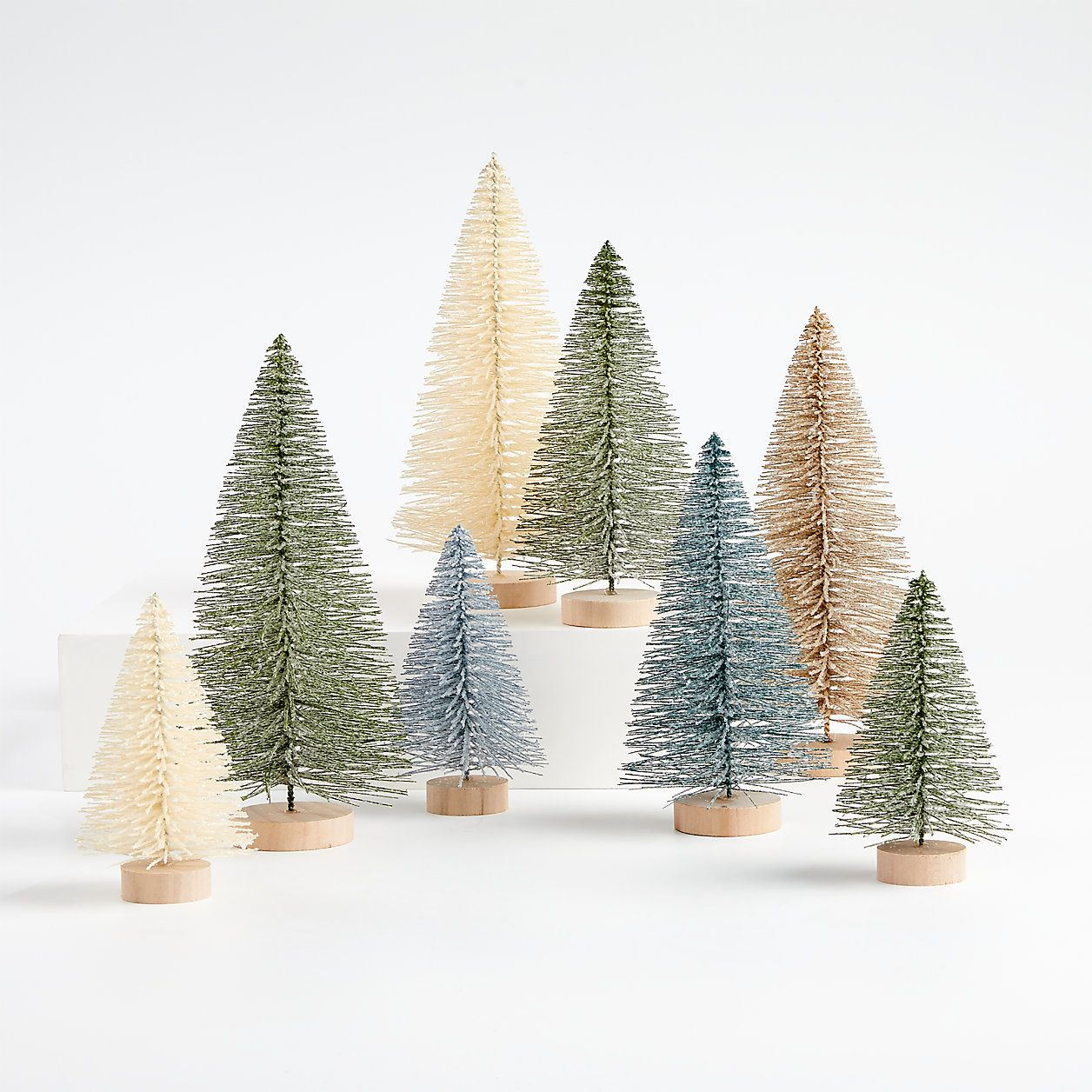 Sage And Silver Bottle Brush Christmas Trees Set Of 8 Reviews Crate And Barrel In 2020 Bottle Brush Christmas Trees Contemporary Christmas Decor Coastal Christmas Decor